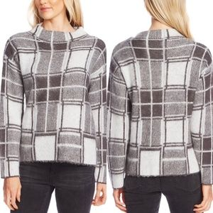 NWT Vince Camuto Plaid Mock Neck Sweater XL